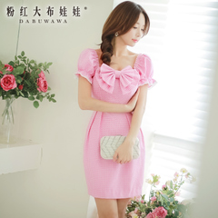 Slim dress pink Princess doll summer 2015 new Couture bow short sleeve dress