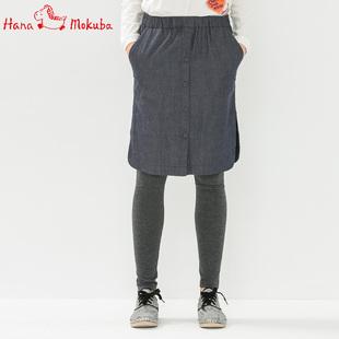 花木马秋冬日系女装针织格纹牛仔包臀打底裙裤1M26211