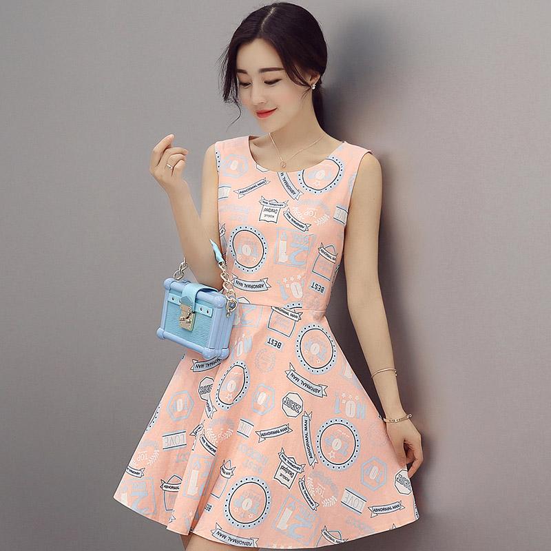 2016夏装新款夏季女装当季新品时尚气质裙装韩版背心连衣裙装名媛