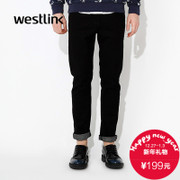 Westlink/West fall 2015 new plain black cotton skinny feet jeans casual men's trousers