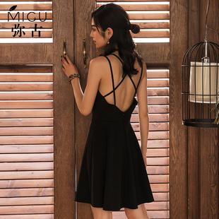 露背吊带裙黑色沙滩裙海边度假裙