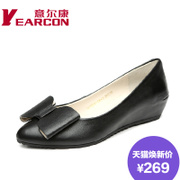 Kang shoes in fall 2015 the new commute, leather superficial sharp increase bow women's shoes
