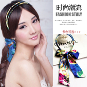 Colorful grid (accessory) parallel bars Ribbon Butterfly headband tiara hair accessories printing Ribbon Ribbon G0108