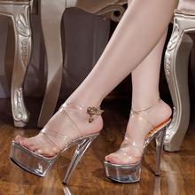 2020夏季新式女鞋 15cm/厘米超d016跟凉鞋ld明水晶细跟凉鞋