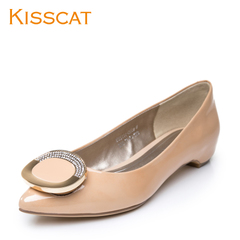 KISSCAT kissing cat temperament commuter 2015 leather fashion metal button ornaments pointy shoes with low light shoes