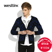 2015 West autumn new style fashion jacket Korean leisure trends v neck contrast color Cardigan men's sweater with long sleeves HM