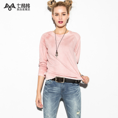 Seven space space OTHERCRAZY solid color wash worn ink Turtleneck long sleeve t Wei Yinv