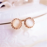 Good Stud female Korea imitation Opal diamond round Stud Earrings ear jewelry jelly color simple fashion