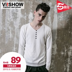 Viishow2015 spring sleeve v-neck knit youth popular wave slim fit long sleeve sweater shirt men long t