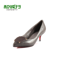 He Chenghang and fall of 2015 new leather Ma Maozhong Office OL women's shoes shoes fashion 0770044