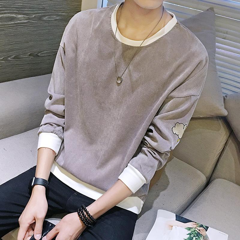 鼕季男士長袖T恤男圓領加厚加絨衛衣帥氣打底衫韓版上衣潮流衣服