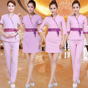 New summer hotel waiter restaurant female body fitting dress nighttime sauna bathing lady technician overalls