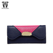 Wan Lima 2015 new style leather ladies wallet large zip around wallet cut wallet fashion mosaic color wallet wave