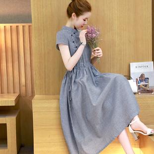 夏季复古改良旗袍民族风中长款棉麻连衣裙修身显瘦亚麻短袖裙子女