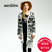 Westlink/West 2015 winter long Lady geometry new fringed hem Cardigan coat