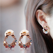 Open ornament new Korea fashion earrings long diamond Butterfly crystal earrings Bohemian ring-mail