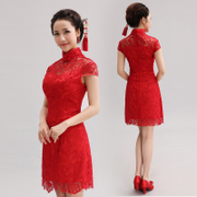 2015 new improved short Chinese qipao dress-red vintage lace wedding bridal toast clothing spring-summer