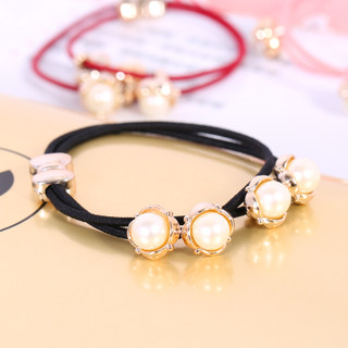 Know NI Korea super elastic hair tie band made by the Korean version of the fresh and small Pearl tiara pierced wire hair accessories