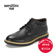 Westlink/West 2015 winter new business casual leather head strap and plush short boots men's shoes