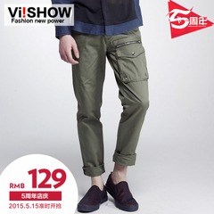 Viishow2014 casual pants new men's cargo pants waist straight casual men's trousers in washed pants