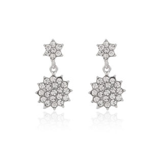 Love fashion jewelry rhinestone snowflake earrings women''s sweet temperament slim Japanese and South Korean defence allergic to earrings
