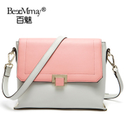 Hundreds of leather charm new popular European and American fashion contrast color stitching shoulder Crossbody bag summer 2015 tide bag