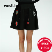 Westlink/West New 2015 winter beaded bust printed high waist skirt female fluffy a-umbrella