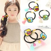 Know NI Japanese and Korean version cartoon graffiti hair rope ring ball tassels elastic hair band hair accessory jewelry