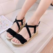 2015 summer platform Sandals women with fish in mouth with thick flat sandals at the end of the Korean version of student Luo Machao shoes