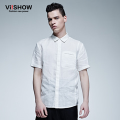 Viishow2015 European fashion summer dress new style men's shirts short sleeve linen shirt, white short-sleeved shirts