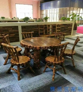 Residential Furniture Jujube Round Table Dining Table Chair Solid Wood Dining Table Round Dining Table Hotel Decoration Original Ecological Rice Table