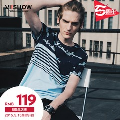 Viishow2015 summer dress new short sleeve t-shirt printing short sleeve t-shirt's sleek, minimalist contrast color crew neck cotton t