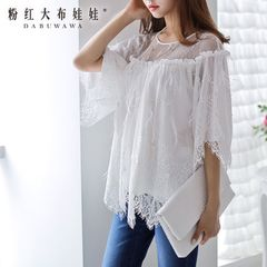 Coat pink doll 2015 autumn new ladies white lace feather dream loose chiffon shirt