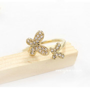 Good Korea jewelry rings two Butterfly diamond opening good conditioning fashion Korean temperament ring rings