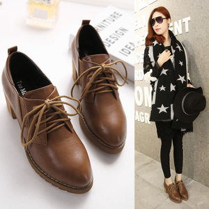 Small size retro autumn and winter British style fairy shoes Brock shoes high-heeled chunky heel shoes ins small leather shoes women tide
