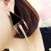 Cool na Korean version of the new Stud punk triangular fringed exaggerated stars drop enamel Stud Earrings jewelry 2028