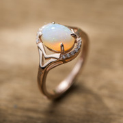 Thai wild natural Opal 925 Silver European and American fashion trend of opening Thai silver ring silver gold-plated ring