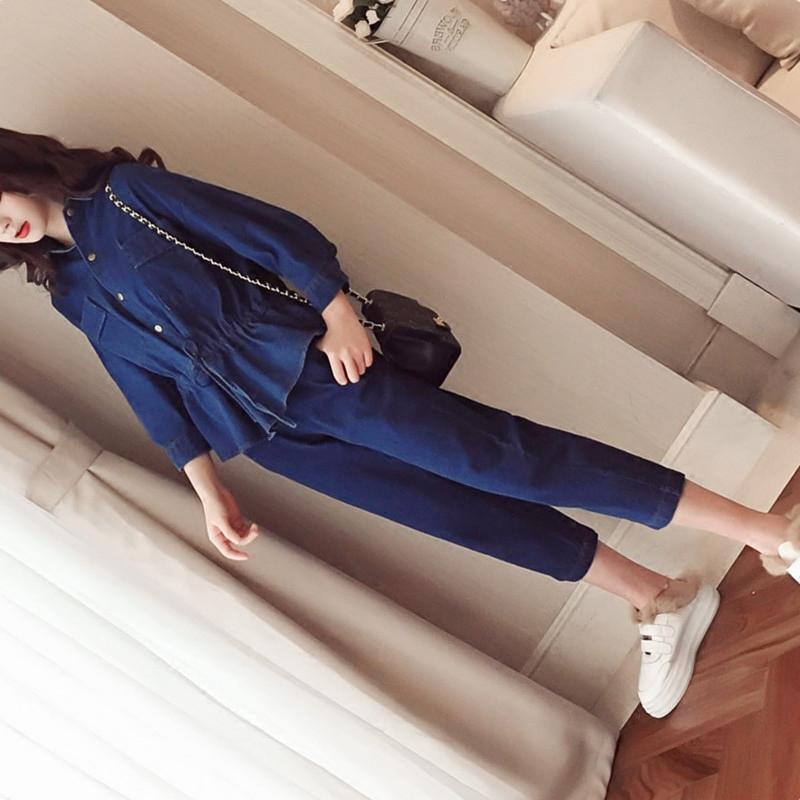 牛仔套装女2019春季新款韩版时尚七分牛仔裤[集市]