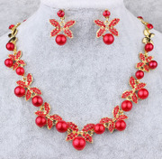 Shi Huanqi N030 alloy beads necklace red dress qipao the bride toast clothing accessory jewelry three piece set