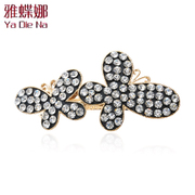 Ya na Crystal rhinestone Butterfly hair clips clip pony tail clip spring clip cross clip hair accessories ZX204