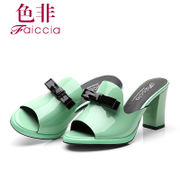 Faiccia/non 2015 summer styles Shoppe genuine patent leather-lined high with thick with female thongs 2243