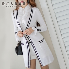 Knit Cardigan women's pink doll spell 2015 autumn new style white/black striped long Cardigan