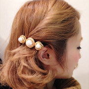 Know Richie Korean headdress edge clamp clean metal rotating solid hair clip Pearl clip hair clips