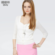 Linda 2015 spring new Qing bi women wear simple sweater v neck thin Cardigan cropped sleeves slim fit jacket knitted