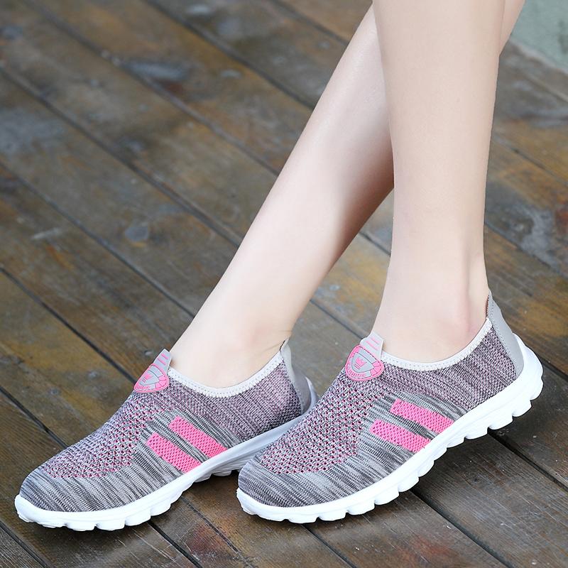 夏天运动休闲鞋平底透气女鞋秋季轻便网鞋女一脚蹬懒人网面跑步鞋