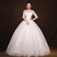 New 2015 spring/summer wedding dresses one shoulder long sleeve half Korean fashion bride snap out of yarn