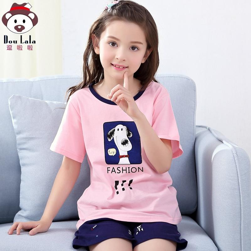 儿童睡衣夏女童家居服套装纯棉薄款短袖宝宝女孩空调服夏季亲子装
