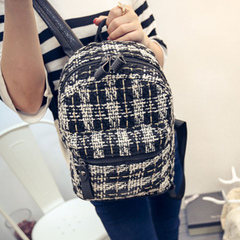 Beauty about fall 2015 new Korean fashion trend of backpack Plaid backpack bag school bags women bags