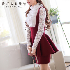 Lace Shirt Pink large dolls at the end of summer 2015 new base Court Lotus Leaf collar shirt long sleeve women's t shirt