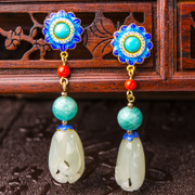 Very natural and Thai court ladies fashion 925 Silver cloisonne jade earrings